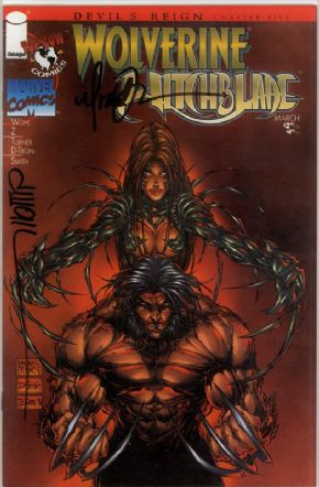 Devil's Reign #5 Wolverine Witchblade Signed Michael Turner & Wohl COA Top Cow comic book